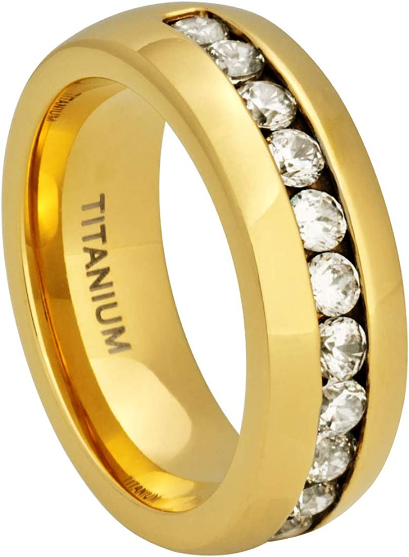 Cavalier Jewelers 8MM Comfort Fit Titanium Wedding Band | 18 K Gold-Plated Engagement Ring with Channel Set CZ