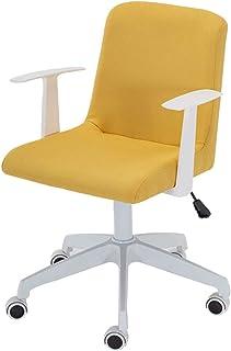 Silla de escritorio de oficina amarilla, silla de tela con soporte lumbar, silla giratoria para computadora con apoyabrazos, sillas de trabajo para el hogar con respaldo medio, cojín tapizado grueso