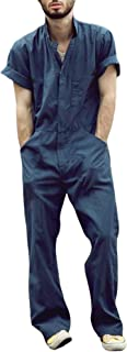 Chollius Mens Jumpsuit Pants One Piece Short Sleeve Summer Casual Sporty Fashion Mens Romper Men´s Short-Sleeve Coverall