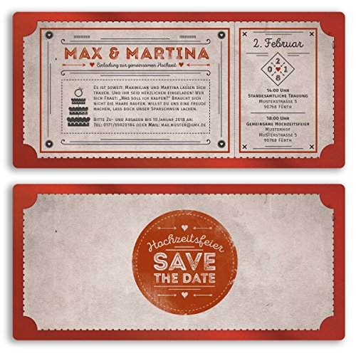 (40 x) Hochzeitseinladungen Vintage Retro Ticket Look Rot Einladungskarten Hochzeit