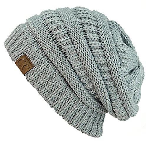 C.C Trendy Warm Chunky Soft Stretch Cable Knit Beanie Skully (2 Tone Grey)