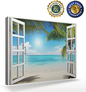 Canvas Wall Art Painting Pictures for Bedroom Living Room Bathroom Decor,Beautiful Tropical Beach Gallery Canvas Art Wall Decor,12x16 inch