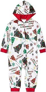 Pijama 1 Pieza Mono Navidad Familiar Mameluco Padres e Hijos Iguales para Invierno Estampado Campana de Navidad con Cremallera y Capucha para Ropa de Casa