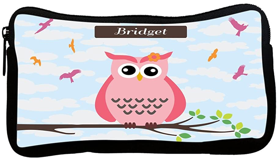 Rikki Knight Bridget Name Cute Pink Owl on Branch with Personalized Name Neoprene Pencil Case (dky-Neo-pc25747)