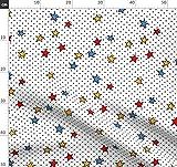 Zirkus, Punkte, Sterne, Primär, Rot, Blau Stoffe -