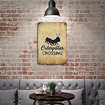 Free Brand Retro Tin Signs,Iron Painting Wall Sign,Aluminum Metal Yard Sign,Vintage Caterpillar Crossing Black Decoration,Hanging Artwork Sign,for Farmhouse Home Coffee Bar Wall Decor