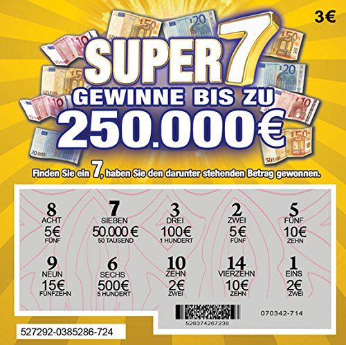 That's Amazing Lot de 5 cartes de loterie à gratter en langue allemande avec billets en euros – tous semblent gagner de 25 000 € à 250 000 €