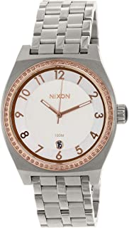 Nixon Women's Quartz Watch with White Dial Analogue Display and Silver Stainless Steel A 3251519–00