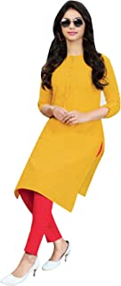Ladyline Cotton Kurti Plain Tunic Top 3/4 Sleeves Button Down Long Kurta Knee Length Evening