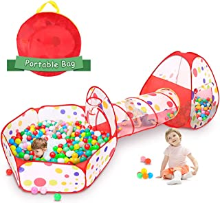 Ejoyous Kids Play Tent with Crawl Tunnel and Ball Pit Tent, 3 in 1 Portable Playhouse Tent Set Indoor Outdoor Baby Play Tent Kit with Carrying Bag for Children Toddler Girls Boys