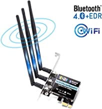 Biuzi Network Adapter Card 300mbps 2.4G//5G Dual Antenna PCI-E Bluetooth 4.0 Dual-Band Wireless Network Card WiFi Adapter for Windows