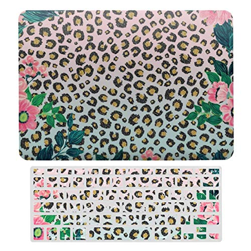 For MacBook Air 13 Case A1466、A1369, Plastic Hard Shell & Keyboard Cover Compatible with MacBook Air 13, Girly Pink Mint Ombre Floral Glitter Leopard Print Laptop Protective Shell Set