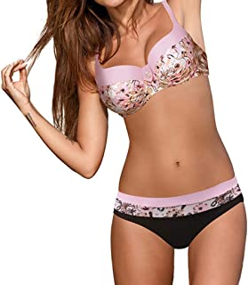18dc0614d0 OverDose Soldes Maillot de Bain 2 Pièces Femme Push Up Sexy String Bikini  Set Rembourrés Brésilien