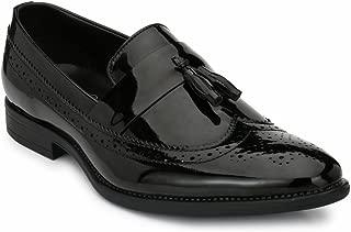 Levanse Formal Leather Slip On Shoes for Men/Boys (Black)