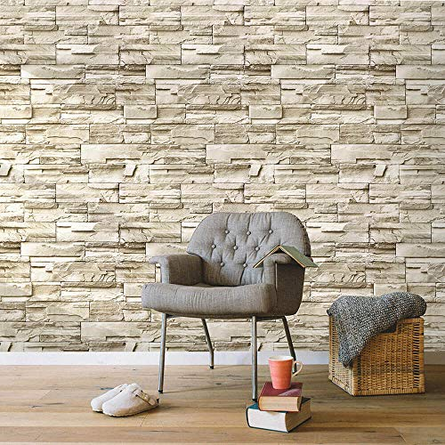 Beige Stone Brick Wallpaper Self Adhesive Waterproof Kitchen Bathroom Room Bar Wallpapers Peel and Stick 3D Slate Stone Brick Effect Paste The Paper 17.71ln X118