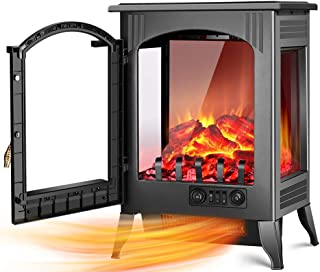 Electric Fireplace Stove - 1500W / 750W Infrared Electric Fireplace Heater with 3D Flame Effect, Adjustable Flame Brightness, Overheat Protection, Large Size Room Electric Wood Stove for Indoor Use