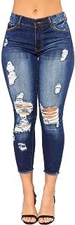 2018 Women's Capris Crop Jeans,Hole Skinny Pencil Denim Slim Fitness Pants Trousers by-NEWONESUN
