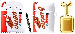 سماعات اذن بلوتوث ستيريو لاسلكية مزدوجة من جوي روم JR-T03s، ذهبي مع علبة شحن مطاطية ثلاثية الابعاد على شكل شوكولاتة كيندر...