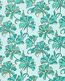 Papel pintado vinílico de diseño floral EDEM 072-22 azul turquesa azul cielo blanco amarillo plata