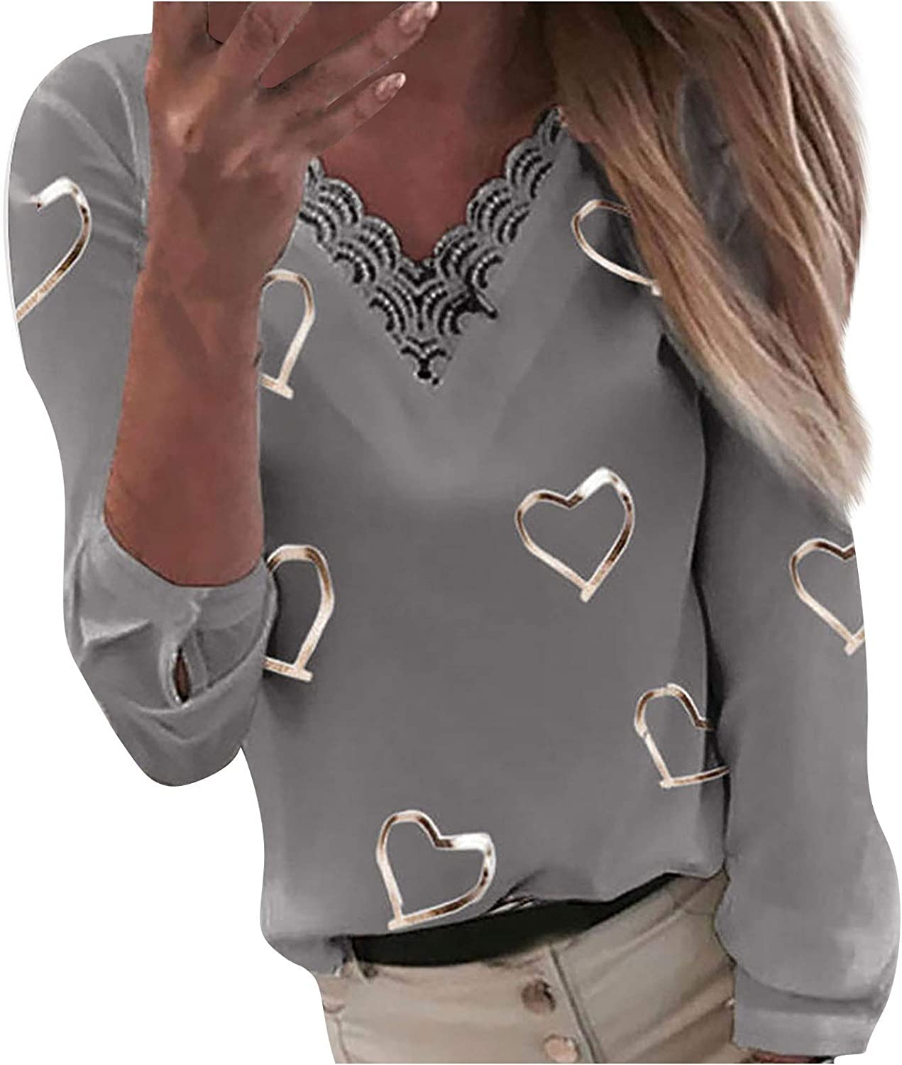 Forwelly Valentines Shirts for Women Cute Heart Print Long Sleeve Plus Size T Shirt Plus Size V Neck Top Blouse