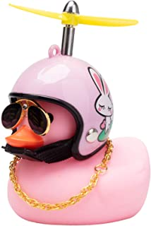 wonuu Pink Duck Car Dashboard Decorations Rubber Duck Car Ornaments Cool Duck with Propeller Helmet Sunglasses Gold Chain