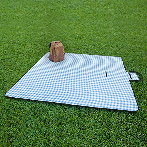 ZhongBan Extra große Picknick- und Outdoordecke mit wasserdichter Rückseite, 203,2 x 228,6 cm, Weiß/Blau