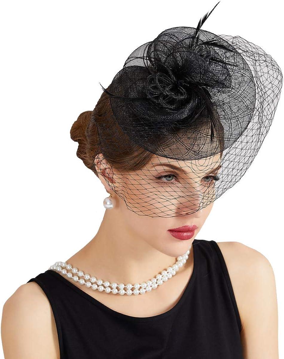 JISEN Women Vintage Fascinators Hat Feather Net Derby Tea Party Headwear
