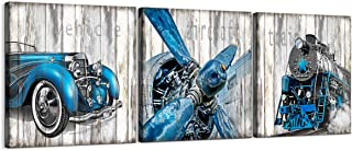 Canvas Wall Art Vintage Vehicle Theme Wall Decoration Modern Kitchen Wall Decor Blue Steam Train Plane Car Picture Vintage Photo Prints for Walls of Bedroom Bathroom Dining Room Decor Framed Artwork