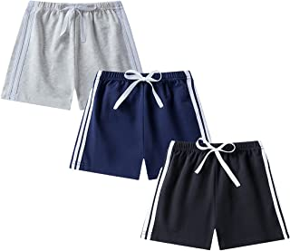 GFQLONG Baby Girls Boys 3 Pack Cotton Runing Athletic Shorts,Toddler Summer Casual Fashion Beach Workout Short Pants