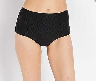 Seafolly Womens Swimwear Black US 4 High Waist Textured Bikini Bottom