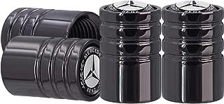 AOOOOP Tire Valve Caps for Mercedes Benz Car Tyre Valve Stem Caps Heavy-Duty Air Cover for Benz A-Class C-Class E-Class CLA CLS AMG GLC GLE GLS (4PCS Black)