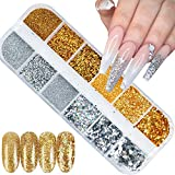 Nail Glitter Powder Holographic Nail Sequins Laser Effect Gold Silver Nail Glitter Flakes 3D Nails Supply Sparkle Manicure Nail Art Design Glitter Dust Acrylic Nails Art Decorations (1 Boxes)