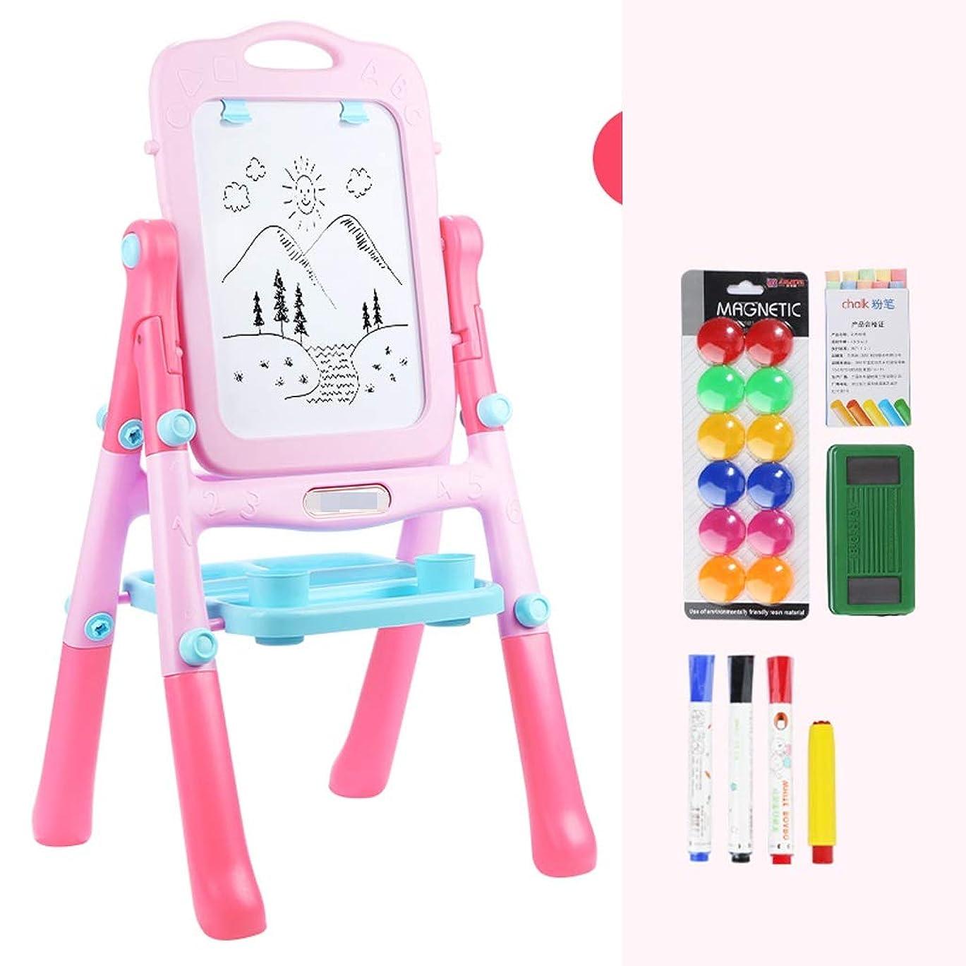 ダイヤモンド誰の海藻TLMYDD 子供のイーゼル両面磁気ライティングボードのおもちゃカラー落書きブラケットタイプ小さな黒板2色オプション イーゼル (Color : Pink)