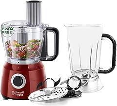 Russell Hobbs Desire Keukenmachine Rood, 2 Snelheden en Pulseerfunctie, Incl. Blenderkan, RVS Messen, Omkeerbare Snij-/Ras...