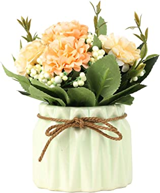 SUPNIU Artificial Hydrangea Bouquet with Small Ceramic Vase Fake Silk Variety Flower Balls Flowers Decoration for Table Home