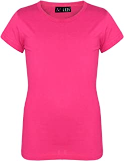 Kids Girls T Shirts Designer 100% Cotton Plain School T-Shirt Top New Age 2-13Yr