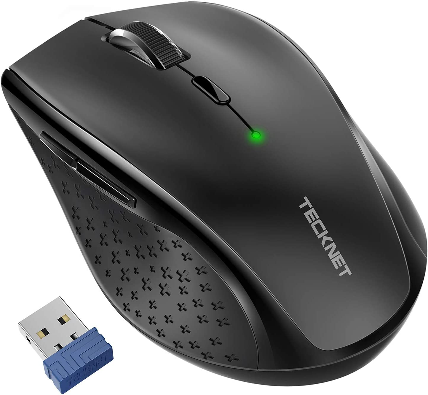 TECKNET Classic 2.4G Portable Optical Wireless Mouse with USB Nano Receiver for Notebook,PC,Laptop,Computer,6 Buttons,30 Months Battery Life,4800 DPI,6 Adjustment Levels (Black)
