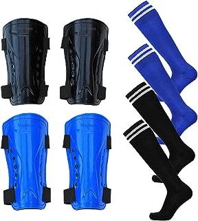 Haploon 2 Pair Knee Shin Guards Soccer Football Shin Pads Protector Calf Knee Protective Gear for 5-10 Old Kids, Teenagers, Boys, Girls, with 2 Pair Long Sleeve Soccer Socks