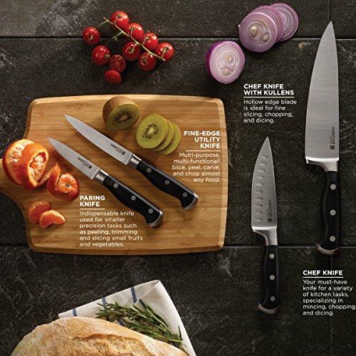 Sabatier Self-Sharpening Edgekeeper Pro 12-Piece Forged Triple Rivet Knife Block Set, Black -