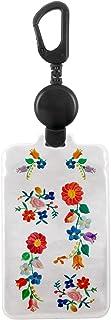 ホークアイ 【のびパス】光に反射する パスケース 伸びるリール付き 選べるデザイン (刺繍の花柄)