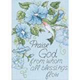 DIMENSIONS 'Hummingbirds and Morning Glories' Religious Counted Cross Stitch Kit, 14 Count Light Blue Aida, 5' x 7'