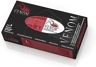 Medline Venom Non-Sterile Powder-Free Latex-Free Nitrile Exam Gloves, Black, Large, 100 Count