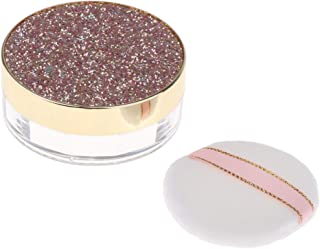 Perfeclan 10G Makeup Loose Powder Case Blush Container W/Mirror&Powder Puff - Coffee, 3 x 7.5cm