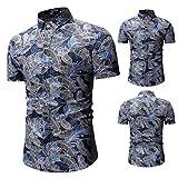 CAOQAO Camisa Hombre Los Hombres de Moda Casual Button Print Hawaii Imprimir Beach Blusa de Manga Corta 2019