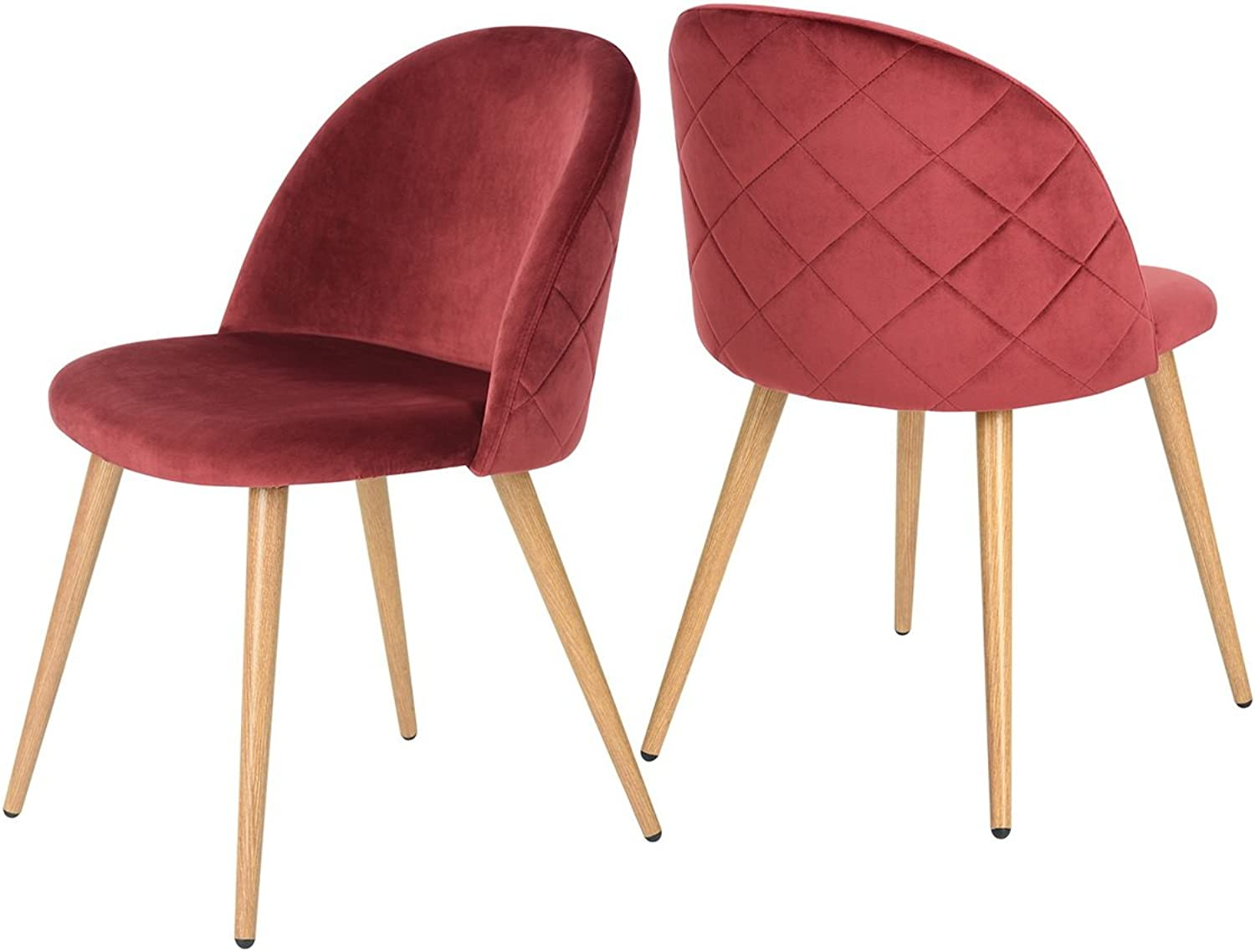 Dining Side Chair - Steel Legs Velvet Cover Red