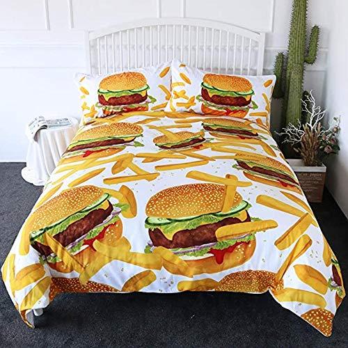 HUA JIE 3 Stück Bettbezug-Sets,Hamburger Fries Bettwäsche 3D Giant Burger Set Spaß Fast Food Kreative Tagesdecken,Mit 2 Kissen Shams Maschinenwaschbar
