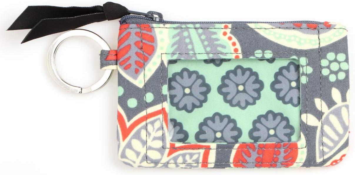 PUPU Women's Cotton Genuine Superior Zip ID Wallet Case Navy-37