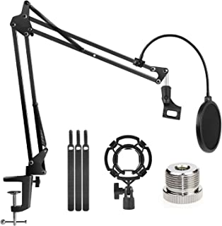 "Microphone Stand Adjustable Studio Mic Stand Suspension Boom Scissor Arm with 3/8""to 5/8"" Screw Adapter, Windscreen Pop Fi..."