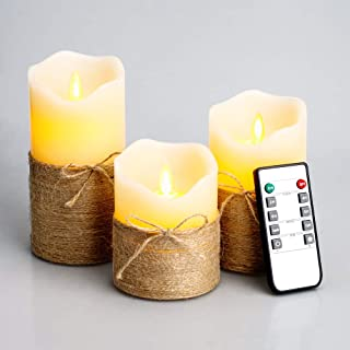 "Flickering Flameless Candles, 4"" 5"" 6"", Set of 3 - Battery Operated Electric Pillar Candles with Timer and Remote Control, Real Wax LED Candles with Realistic Moving Wick Dancing Flame (Ivory White)"