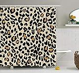 Duschvorhang mit Leopardenmuster, Tierhaut, Jaguar, Gepard, Panther, braune Punkte auf goldenem Hintergr&, Duschvorhänge mit verstärkten Knopflöchern für Duschen (198,1 x 198,1 cm)